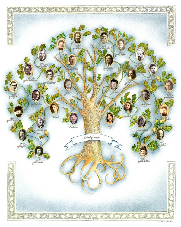 It is a graphic of Fan Photos Family Tree